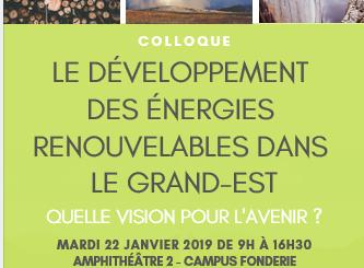 Conférence 22 janvier 2019 Les énergies renouvelables dans le Grand Est